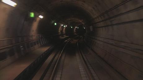 Train moving through a tunnel