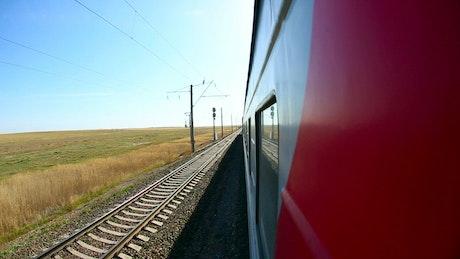 Train moving through the tracks