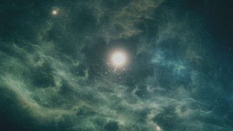 Traveling in space towards a star through nebulae
