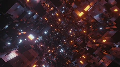 Traveling through a tunnel of black cubes in 3D