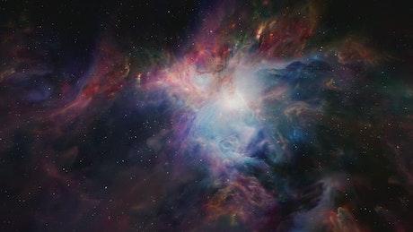 Traveling through beautiful nebulas in space