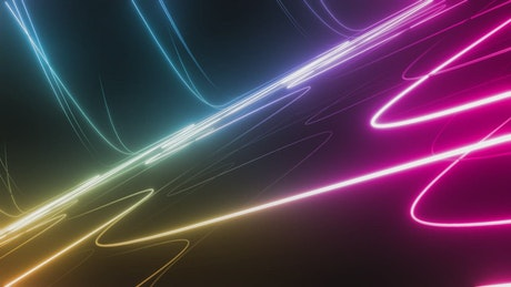 Traversing a surface of curved lines of colored light