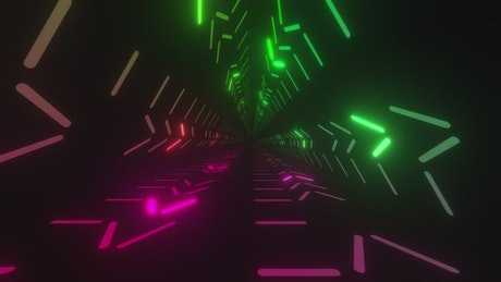 Triangular passageway with light lines of colors