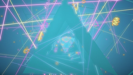 Triangular tunnel with shapes and glowing lights