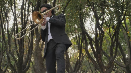 Trombone musician in the middle of nature
