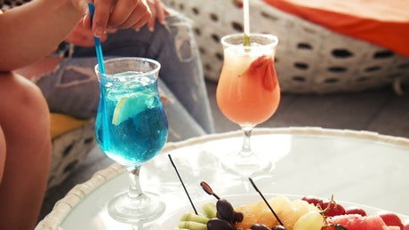 Tropical drinks on the table