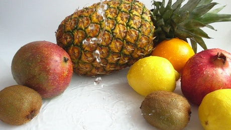 Tropical fruits and water