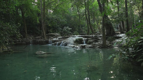 Tropical river and waterfalls