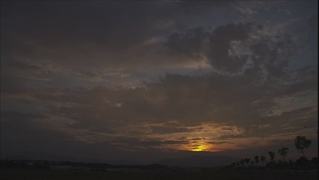 Tropical sunrise on the horizon