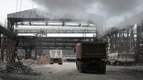 Trucks in a steel factory