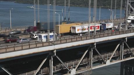 Trucks on the Washington bridge