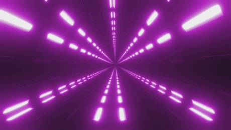 Tube with purple lights flashing dynamically