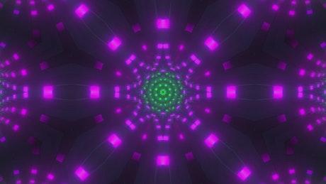 Tubes of phosphorescent colored light patterns
