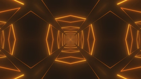 Tunnel formed by golden light lines