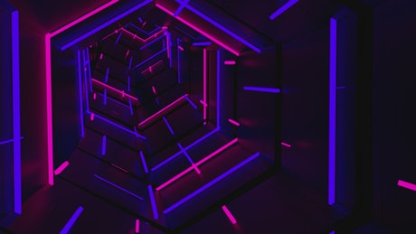 Tunnel in geometric shape with neon lights