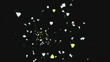 Tunnel in the dark with white and yellow figures