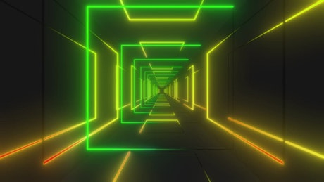 Tunnel made of yellow and green light