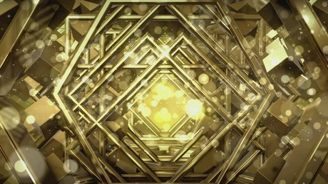 Tunnel of abstract golden structures
