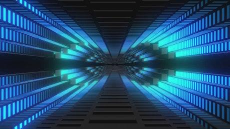 Tunnel of light bars in blue range in 3D
