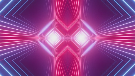 Tunnel of pink and blue neon light rectangles