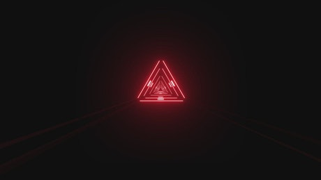 Tunnel of triangles of blinking red light