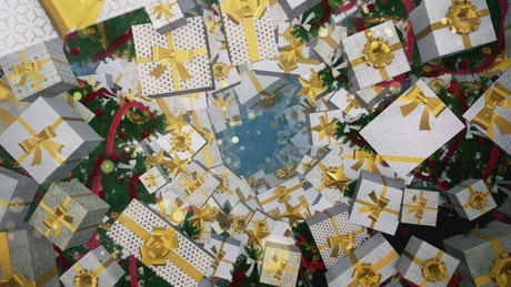 Tunnel surrounded by gifts 3D Christmas trees