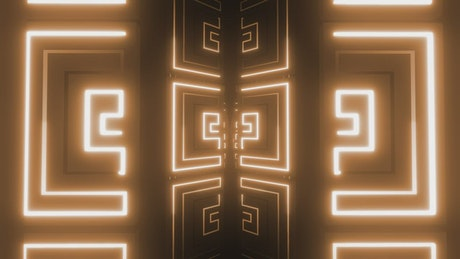 Tunnel with neon light strokes in geometric shapes