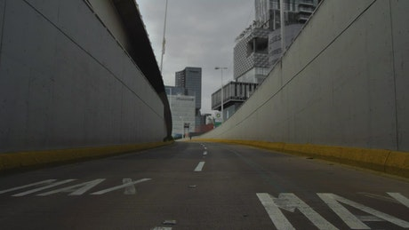 Tunnel with sight to buildings