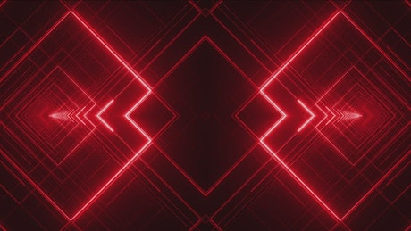 Tunnels made of forms with lines of red light