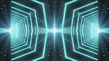 Tunnels of polygons and points of green light