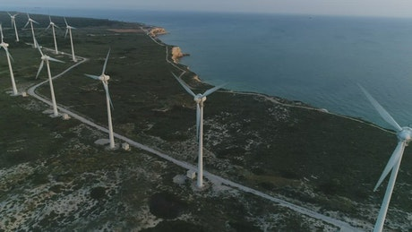 Turbines next to the sea