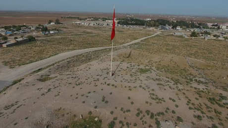 Turkey flag on a flagpole