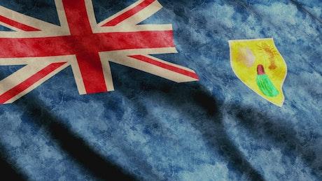 Turks And Caicos Islands waving 3D flag