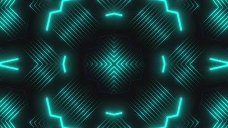 Turquoise blue lights moving in patterns in a prism