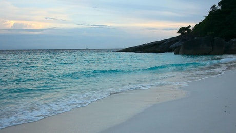 Turquoise empty beach in the afternoon