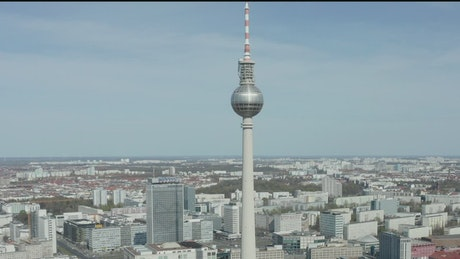 TV tower in Germany, aerial shot
