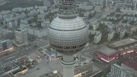 TV tower seen from the air in the city of Berlin