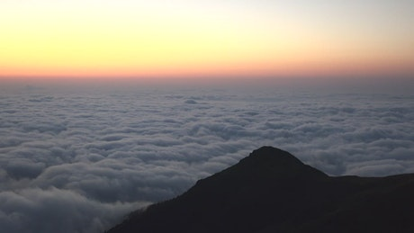 Twilight before sunrise over the clouds landscape