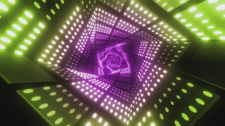 Twisted square tunnel with green and purple lights