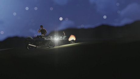 Two 3D motorcyclists resting with a campfire