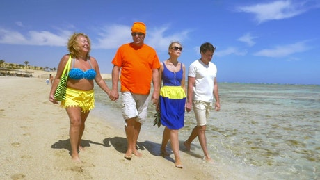 Two couples walking along the beach