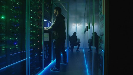 Two hackers escaping from data center