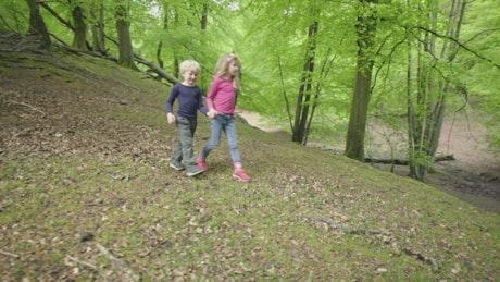 Two kids walking through woodland