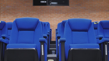 Two male and female students sitting in an auditorium