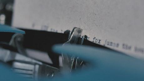 Typewriter viewed in great detail when typing