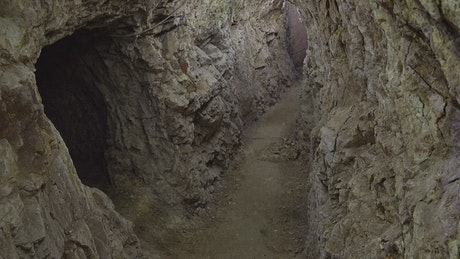 Underground rock cave