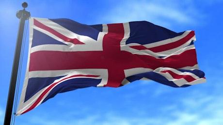 United Kingdom flag waving in slow motion