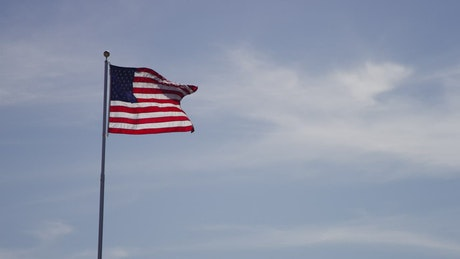 United States flag moving in the wind