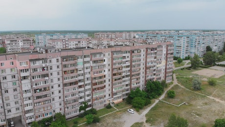 Urban apartment buildings near to nature
