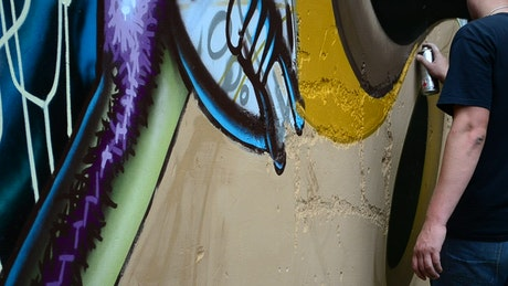 Urban artist painting a mural